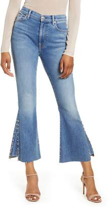7 For All Mankind High Waist Stud Detail Kick Flare Ankle Jeans