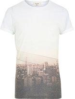 River Island MensWhite sepia city print short sleeve t-shirt