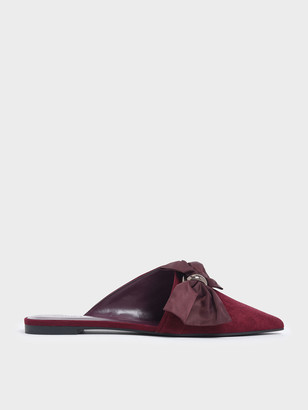 Charles & Keith Oversized Bow Asymmetric-Cut Textured Mules