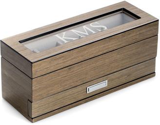 Bey-Berk Men's Personalized Wooden Watch & Accessory Storage Case
