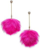Betsey Johnson xox Trolls Faux-Fur Pom Pom Earrings, Only at Macy's