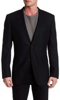 Zanetti Catania Black Two Button Notch Lapel Trim Fit Wool Sport Coat