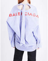 Balenciaga Logo-print striped relaxed-fit cotton shirt