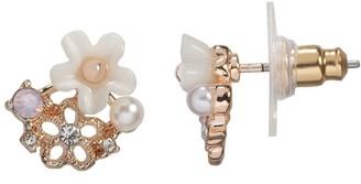 Lauren Conrad Simulated Pearl & Floral Nickel Free Stud Earring