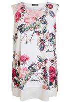 Quiz Cream And Red Floral Print Top