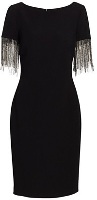 Badgley Mischka Crystal Fringe-Sleeve Sheath Dress