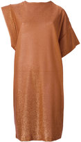 Nude sparkly knit asymmetric dress - women - Polyamide/Polyester/Viscose - 40