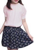 JiaYou Short Sleeve Round Neck Solid Shirt Top and Mini Floral Skirt 2 Sets