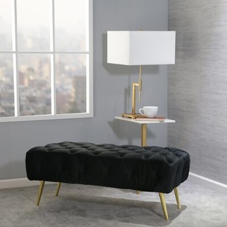 Everly Frawley Upholstered Bench Quinn Color: Black