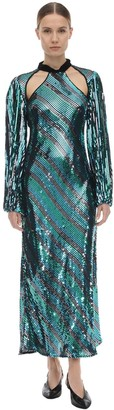 Rixo Celia Sequined Viscose Midi Dress