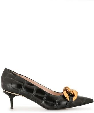 No.21 Chunky Chain-Embellished Crocodile-Effect Kitten Heel Pumps
