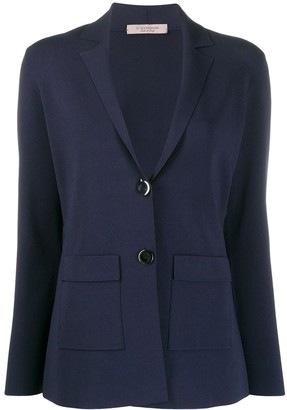 D-Exterior Fitted Single-Breasted Blazer