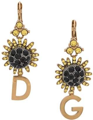 Dolce & Gabbana crystal-embellished logo pendant earrings