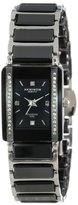 Akribos XXIV Women's AK522BK Ceramic Rectangular Quartz Bracelet Watch