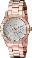 GUESS Women's U0816L3 Sporty Rose Gold-Tone Stainless Steel Watch with Multi-function Dial and Pilot Buckle