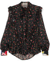Preen by Thornton Bregazzi Billy Ruffled Floral-print Silk-jacquard Blouse - Black