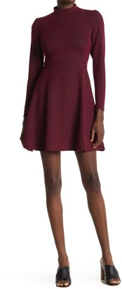 Velvet Torch Mock Neck Long Sleeve Skater Dress