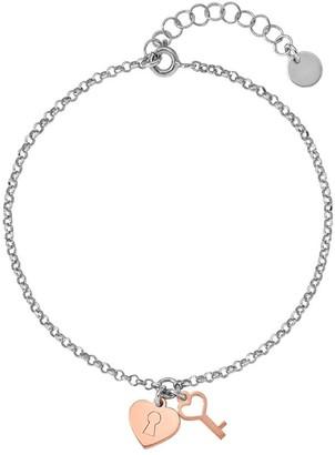 Italian Silver Two-Tone Heart & Key Bracelet, 2.2g