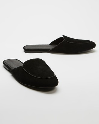 AERE - Women's Black Heeled Sandals - Loafer Leather Mules - Size 6 at The Iconic