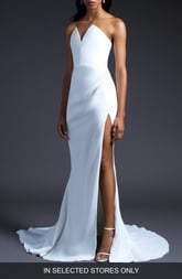 Cushnie V-Neck Slit Wedding Dress