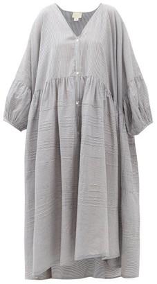 Anaak - Pia Pintucked Striped Cotton Shirtdress - Womens - Navy Stripe