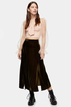 Topshop Womens Olive Velvet Split Midi Skirt - Olive