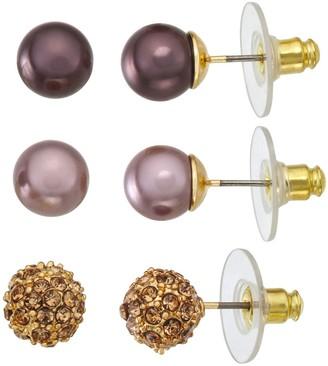 Dana Buchman Gold Tone Simulated Pearl Earrings Set