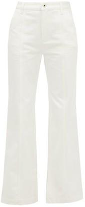 Loewe Slit-cuff Topstitched Straight-leg Jeans - White