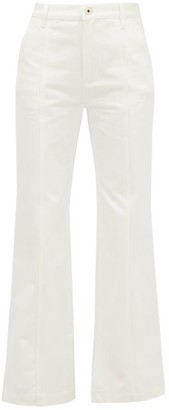 Loewe Slit-cuff Topstitched Straight-leg Jeans - Womens - White