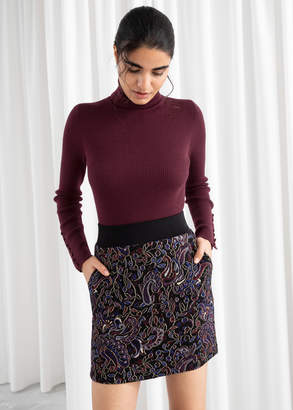 And other stories Paisley Metallic Mini Stretch Skirt