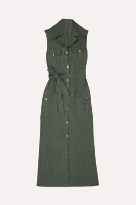 Giuliva Heritage Collection Mary Angel Belted Linen Midi Dress - Green