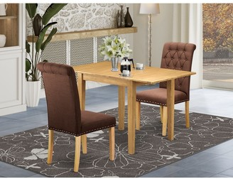 East West Furniture Rectangle Breakfast Table and Wooden Dining Room Chairs with Chocolate Color Linen Fabric Seat