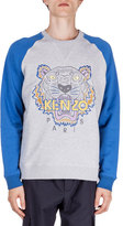 Kenzo Tiger Icon Crewneck Baseball Sweatshirt, Gray/Blue