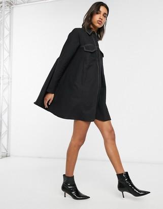 Asos Design DESIGN cotton trapeze shirt dress with contrast stitching-Black