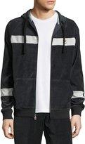 Fila Velour Slim-Fit Zip-Front Hoodie, Black