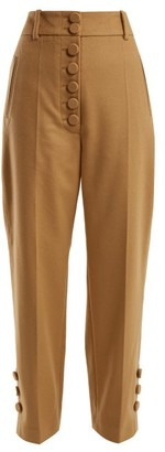 Joseph Young Buttoned Wool And Cashmere-blend Trousers - Womens - Camel