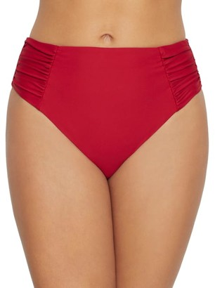 Birdsong Rouge Ruched High-Waist Bikini Bottom