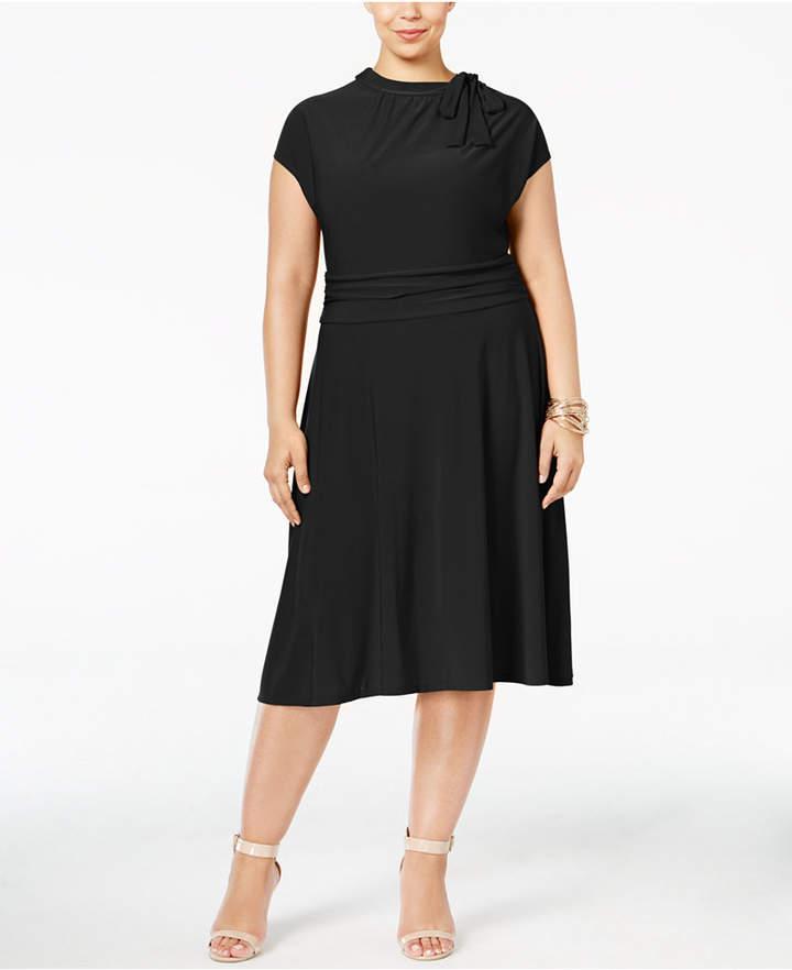 Plus Size Tie-Neck A-Line Dress