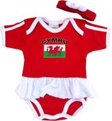 PAM baby girls Wales soccer bodysuit with white piping