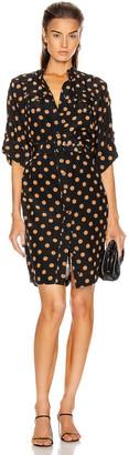Zimmermann Silk Utility Mini Dress in Black & Tan Dot | FWRD