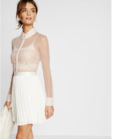 Express sheer mesh and lace long sleeve shirt