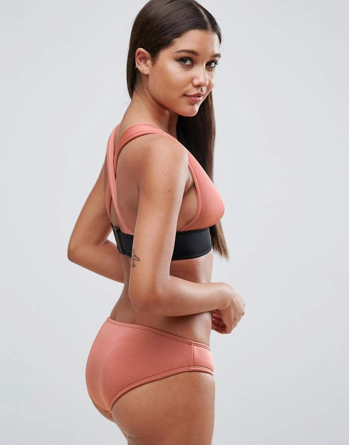 Asos Contrast Deep Band Scuba Triangle Crop Bikini Top