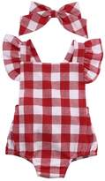 Alicado Newborn Toddler Baby Girl Bodysuit Cotton Plaids Bebes Romper Outfit with Bowknot