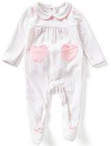 Mud Pie Baby Girls Newborn-9 Months Velour Heart Footed Coverall