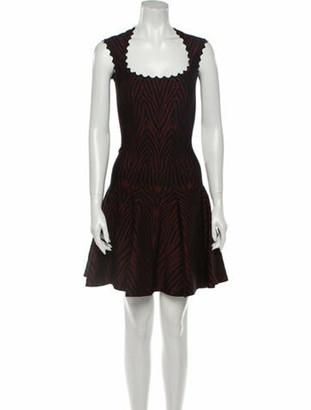 Alaia Animal Print Mini Dress Red