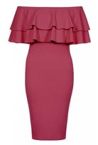 Quiz Berry Double Frill Bardot Bodycon Dress
