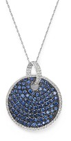 """Bloomingdale's Sapphire and Diamond Disc Pendant Necklace in 14K White Gold, 18"""""""