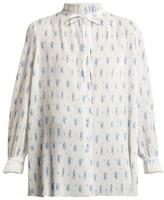 Balenciaga Ruffled Tie-neck Floral-print Plisse Blouse - Womens - White Print