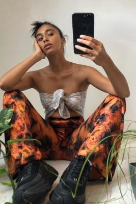 Urban Renewal Vintage Urban Outfitters Archive Rust Tie-Dye Crushed Flare Trousers - Orange XS at Urban Outfitters