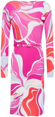 Emilio Pucci Belted Printed Jersey Mini Dress